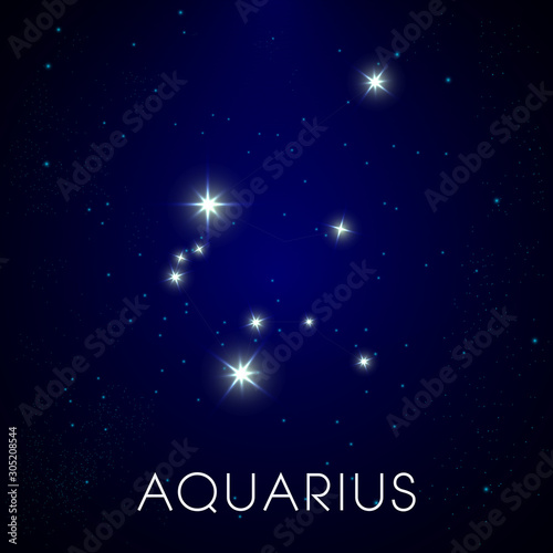 Zodiac sign of Aquarius, constellation in cosmic night sky Canvas Print