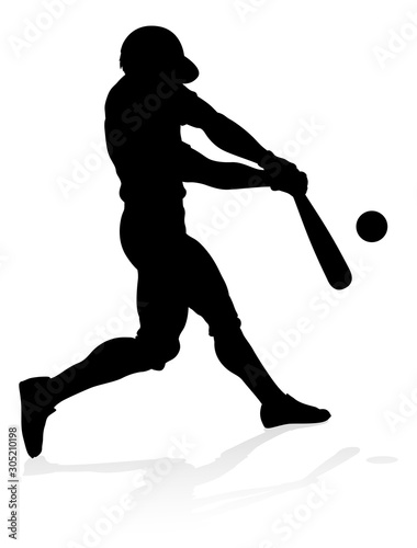 Baseball player in sports pose detailed silhouette Wallpaper Mural