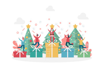 concept of happy new year celebration and Merry Christmas with large gifts, pine tree and tiny people, flat vector illustration for web, landing page, ui, banner, editorial, mobile app and flyer.