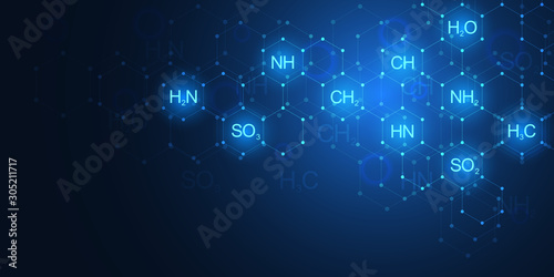 Photo  Abstract chemistry pattern on dark blue background with chemical formulas and molecular structures