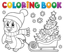 Coloring Book Christmas Pengui...