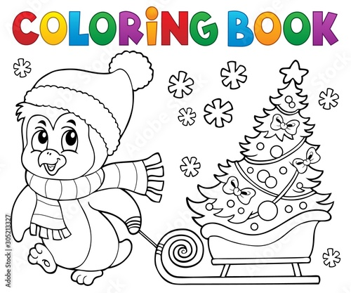 Foto auf Leinwand Für Kinder Coloring book Christmas penguin topic 7
