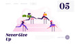 Business People Obstacle Race Website Landing Page. Managers Holding Money and Documents Jumping over Barriers on Stadium. Leadership Steeplechase Web Page Banner. Cartoon Flat Vector Illustration