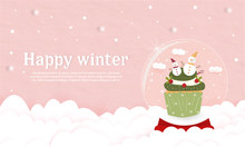 Sweet Christmas Cup Cake In Glass Globe Decorated With Snowman And Cherries Cover Banner.pink Paper Pastel Background On Cloud Happy Winter. Bakery Party Celebration Food Product Cream Lover. New Year