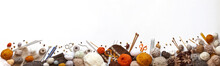 Panoramic View Of Composition With Knitting Accessories: Balls Of Wool Yarn, Knitting Needles, Hooks, Scissors And Other Knit Tools On White Background. Long Banner, Top View, Copy Space, Flat Lay
