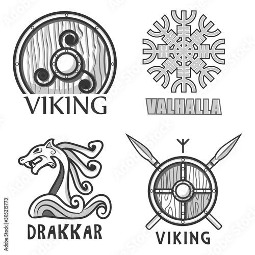 Scandinavian warriors equipment isolated icons, vikings armor Canvas Print