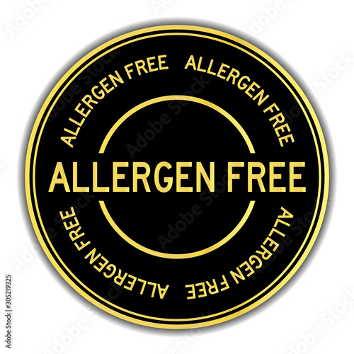 Gold color allergen free word round sticker on white background Canvas Print
