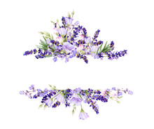 Picturesque Frame Of Lavender, Bluebells,leaves, Herbs Hand Drawn In Watercolor Isolated On A White Background.Floral Watercolor Illustration.Ideal For Creating Invitations, Greeting And Wedding Cards