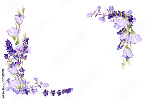Photo Picturesque square frame of lavender, bluebells, herbs hand drawn in watercolor isolated on a white background
