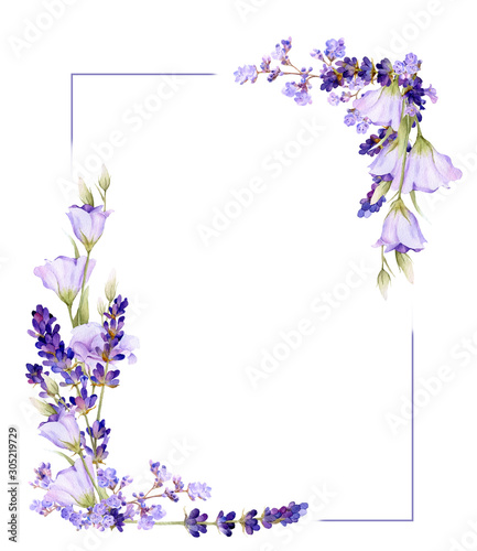 Stampa su Tela Picturesque square frame of lavender, bluebells, herbs hand drawn in watercolor isolated on a white background