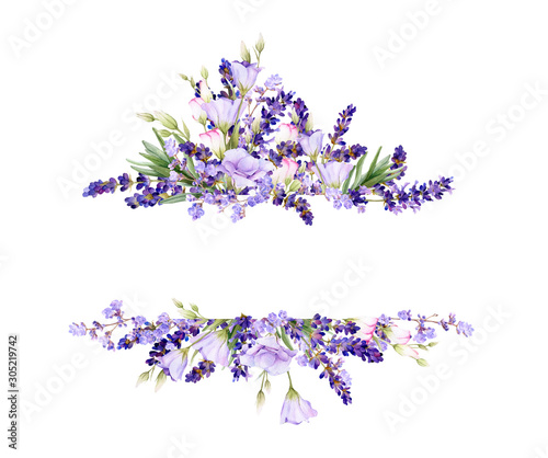 Picturesque frame of lavender, bluebells,leaves, herbs hand drawn in watercolor isolated on a white background Canvas Print