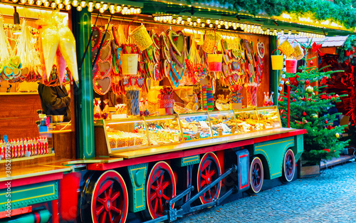 Heart shape Gingerbread cookies food on Christmas market in Europe in winter Canvas Print