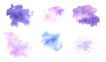 Set Of Hand Drawn Watercolor Textures Isolated On A White Background.