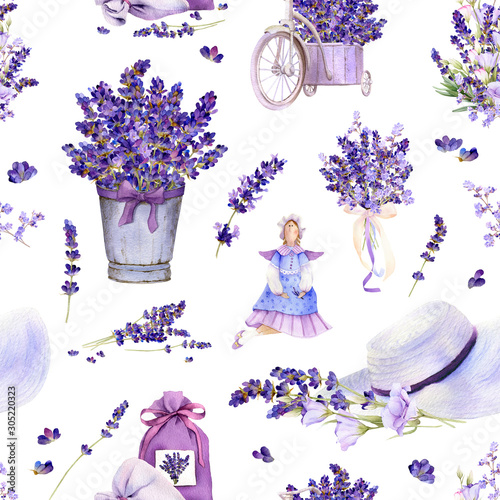 Fotografiet Seamless pattern in a Provence style with lavender flowers, arrangements, bouquets, tilda doll, summer hat, pot hand drawn in watercolor isolated on a white background