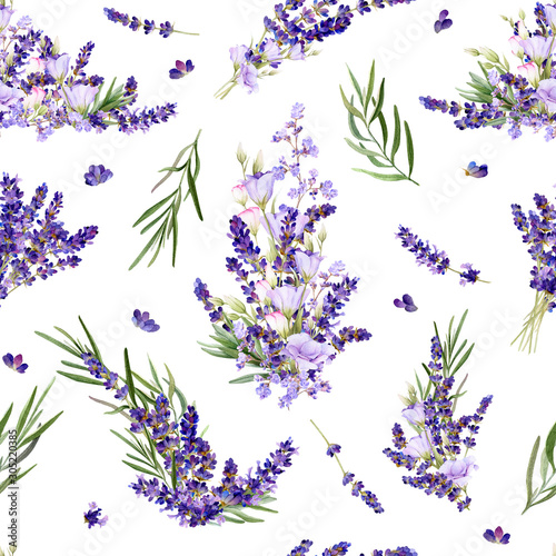 Fényképezés Seamless pattern in a Provence style with lavender flowers, arrangements, leaves and herbs hand drawn in watercolor isolated on a white background