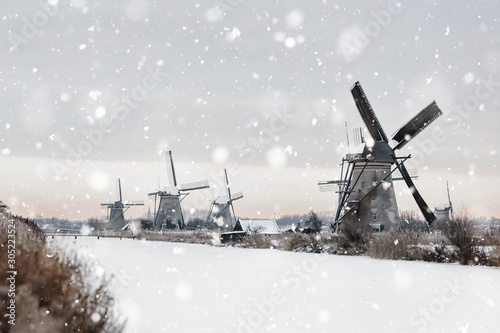 Windmills in Kinderdijk, The Netherlands in winter