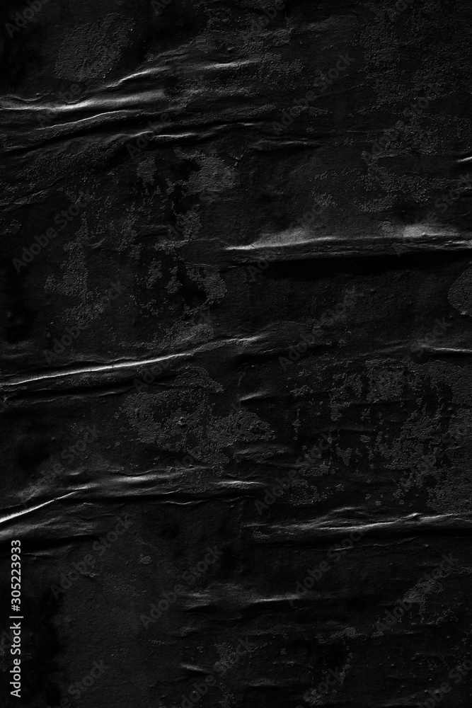 Fototapeta Dark black paper background creased crumpled blank posters old torn ripped surface grunge textures placard backdrop empty space for text