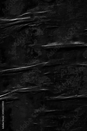 Fototapeta Dark black paper background creased crumpled blank posters old torn ripped surface grunge textures placard backdrop empty space for text obraz