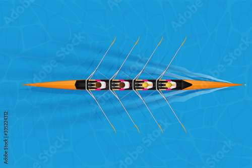 Leinwand Poster Four Racing shell with mixed paddlers for rowing sport on water surface