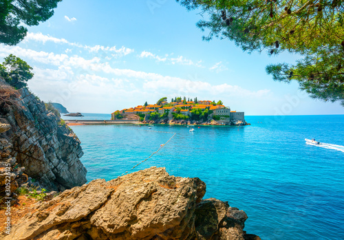 Rocks and Sveti Stefan Canvas Print