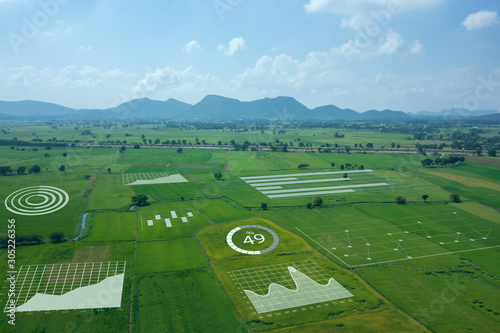 Foto smart farm ,agriculture concept, farmer use data augmented mixed virtual reality integrate artificial intelligence combine deep, machine learning, digital twin, 5G, industry 4