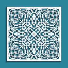 Square Tile With Cutout Paper Swirls, Floral Lace Texture, Curly Stencil Pattern, Elegant Template For Laser Cutting