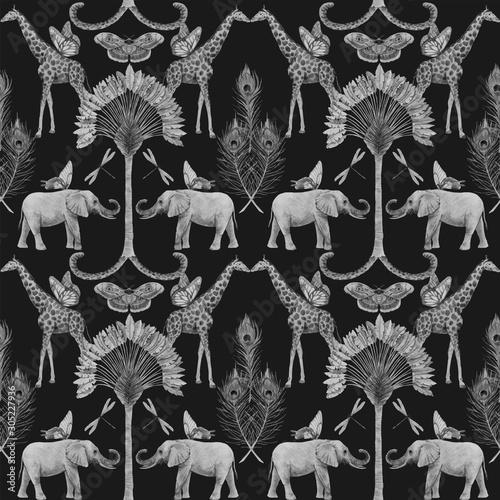 Photo  Beautiful vector african safari animal tropical seamless pattern