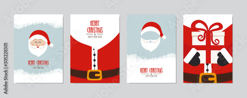 Cute santa claus card set. Merry christmas and Happy New Year greeting winter snowy background lettering vector. Christmas card set.