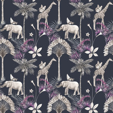 Beautiful Vector African Safari Animal Tropical Seamless Pattern. Trendy Style. Print With Elephants And Giraffe. Dark Background,