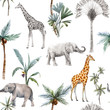 Watercolor vector seamless patterns with safari animals and palm trees. Elephant giraffe.