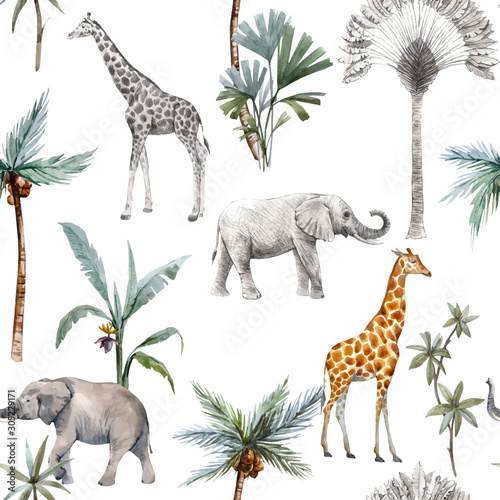 Foto Watercolor vector seamless patterns with safari animals and palm trees