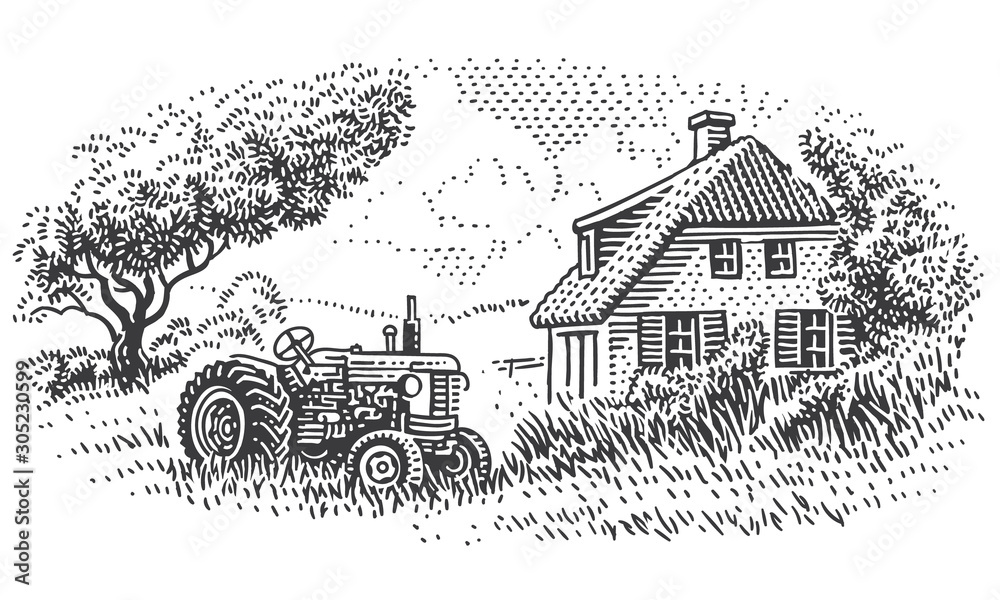 Fototapeta An old tractor near farmhouse in countryside engraving style illustration. Vintage rustic village drawing. Vector.