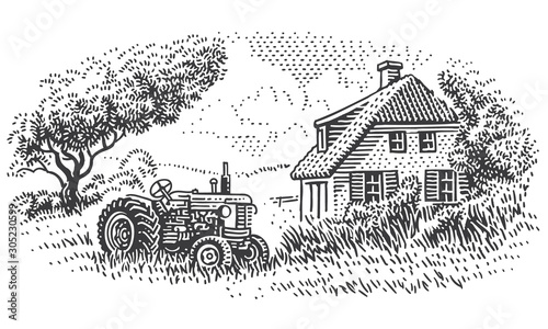 Obraz An old tractor near farmhouse in countryside engraving style illustration. Vintage rustic village drawing. Vector.  - fototapety do salonu