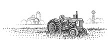 An Old Retro Tractor In Field ...