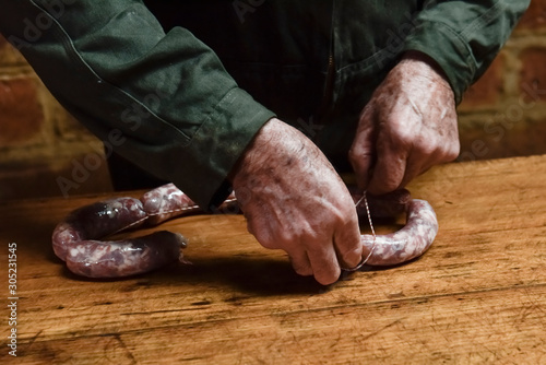 Spoed Fotobehang Buenos Aires Homemade sausages, traditional cuisine, Argentina