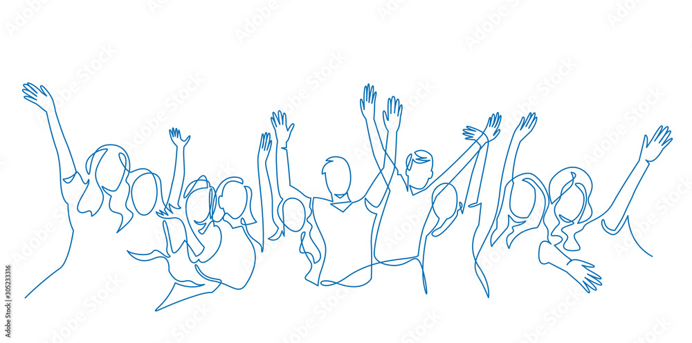 Fototapeta Cheerful crowd cheering illustration. Hands up. Group of applause people continuous one line vector drawing.
