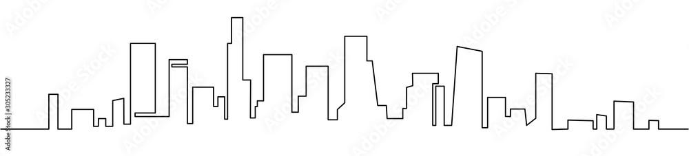 Nowoczesne gród ciągły jeden rysunek wektorowy linii. Metropolia architektura panoramiczny krajobraz. Wieżowce w Nowym Jorku ręcznie rysowane sylwetka. Budynki mieszkalne