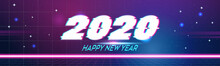2020 Happy New Year Merry Christmas Poster Holiday Celebration Concept Greeting Card Flat Horizontal Vector Illustration