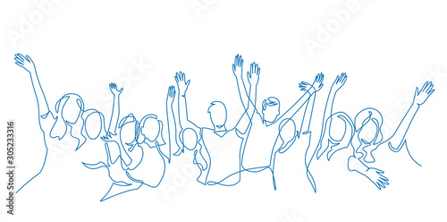 Obraz Cheerful crowd cheering illustration. Hands up. Group of applause people continuous one line vector drawing. - fototapety do salonu