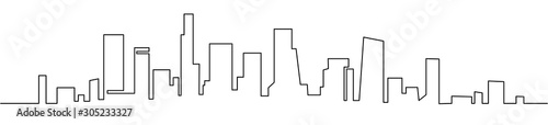 Fototapeta Modern cityscape continuous one line vector drawing. Metropolis architecture panoramic landscape. New York skyscrapers hand drawn silhouette. Apartment buildings obraz
