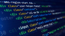 Code, HTML, Php Web Programming Source Code. Abstract Code Background - 3d Rendering