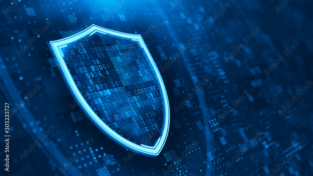 Fototapeta Shield. Abstract wireframe vector illustration on dark blue. Protect and Security concept. Digital Shield on abstract technology background. 3d rendering