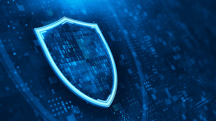 Shield. Abstract wireframe illustration on dark blue. Protect and Security concept. Digital Shield on abstract technology background. 3d rendering
