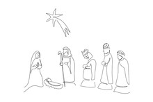 Continuous Line  Nativity Of Jesus Drawing