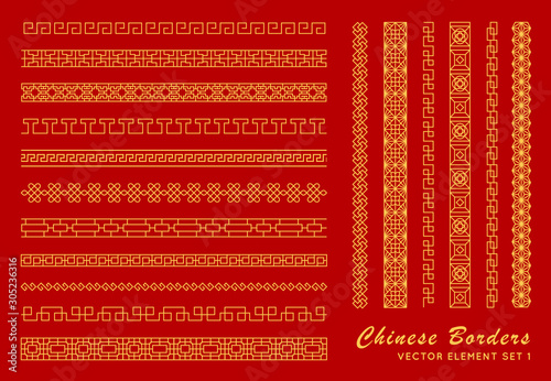 Fototapeta Asian border set in vintage style on red background. Traditional chinese ornaments for your design. Vector golden japanese pattern. Artwork graphic, asian culture decoration obraz
