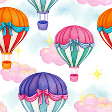 Watercolor Colorful Air Balloo...