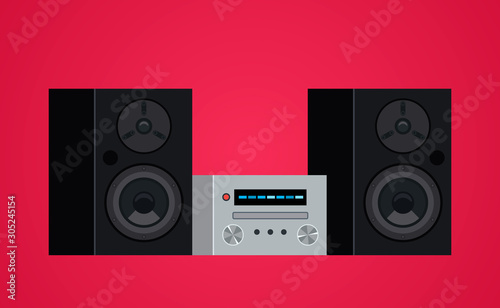 Home modern stereo audio system and cassette player. Canvas Print