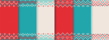 We Knit Christmas Pattern. Red, Blue, White Print