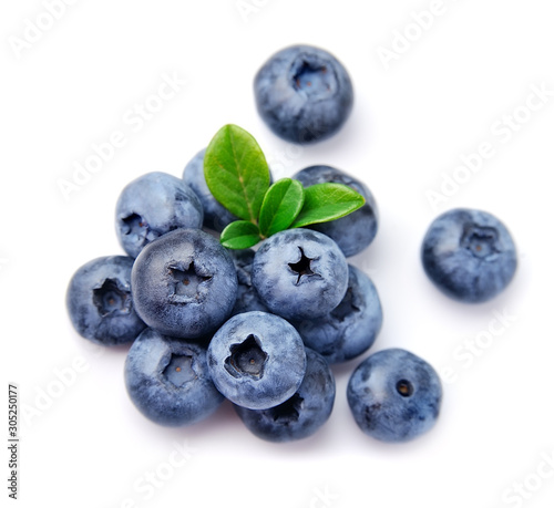 Blueberries with leaves . Wallpaper Mural