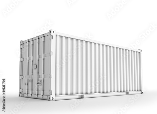 Canvas Print White Shipping Container, 3D Rednered on Light Gray Background